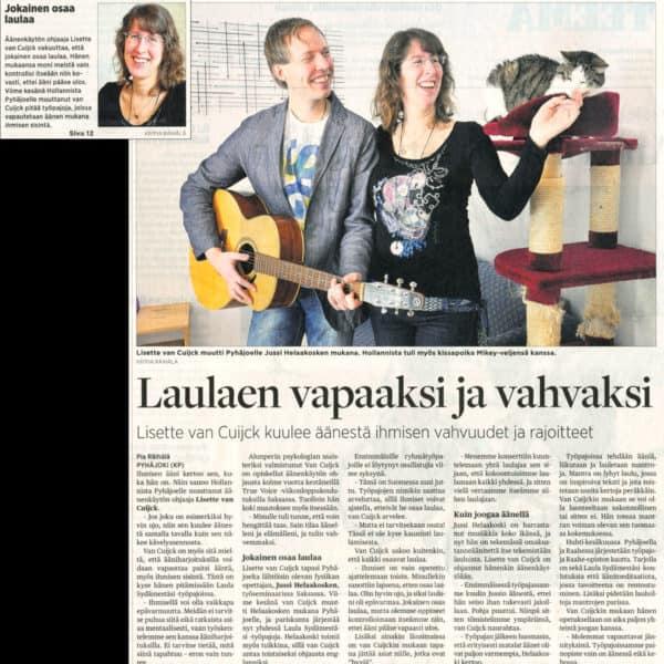 """""""Laulaen vapaaksi ja vahvaksi"""" (Keskipohjanmaa, 26.3.2013)"""