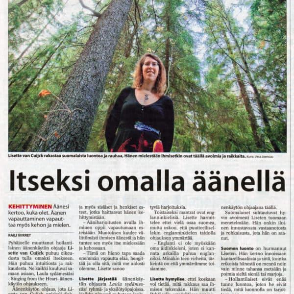 """""""Itseksi omalla äänellä"""" (Raahen Seutu, 15.10.2012)"""